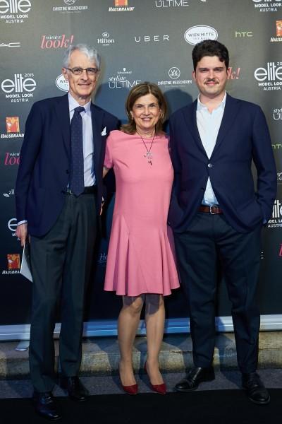 Martino Zanetti con la moglie Susanna e il figlio Francesco alla finale di Elite Model Look Austria. Credits by Alexander Tuma